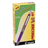 Pilot 26066 Precise V5RT Purple Ink with Purple Barrel 0.5mm Roller Ball Retractable Pen - 12/Pack