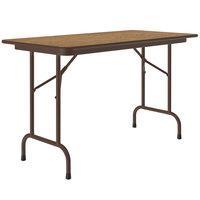 Correll CF2448M06 24 inch x 48 inch Medium Oak Light Duty Melamine Folding Table