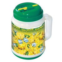 32 oz. Plastic Lemonade Mini Tanker with Spout / Straw and Lid   - 24/Case