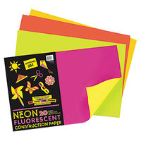Pacon 104303 12 inch x 18 inch Assorted Neon Color Pack of 76# Construction Paper - 20/Sheets