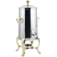 Bon Chef 41003-1 Aurora 3.5 Gallon Stainless Steel Coffee Chafer Urn with Brass Trim