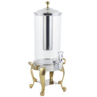Bon Chef 49500 Roman 2 Gallon Brass Finish Beverage Dispenser with Stainless Steel Ice Chamber