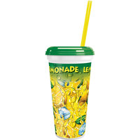 32 oz. Tall Plastic Lemonade Ice Souvenir Cup with Straw and Lid - 300/Case