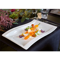 Villeroy & Boch 10-2525-2697 NewWave 14 1/2 inch x 10 inch Rectangular White Premium Porcelain Gourmet Plate - 4/Case