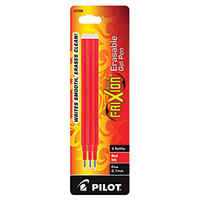 Pilot 77332 FriXion Red Ink Fine Point Erasable Retractable Roller Ball Gel Pen Refill - 3/Pack