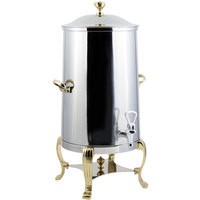 Bon Chef 40001-1 Aurora 1.5 Gallon Insulated Stainless Steel Coffee Chafer Urn with Brass Trim