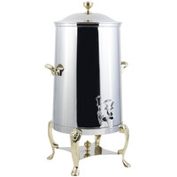 Bon Chef 48001 Lion 1.5 Gallon Insulated Stainless Steel Coffee Chafer Urn with Brass Trim