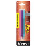 Pilot 77336 FriXion Assorted Ink Fine Point Erasable Retractable Roller Ball Gel Pen Refill - 3/Pack