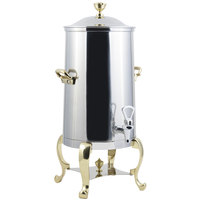 Bon Chef 49001-E Roman 1.5 Gallon Insulated Stainless Steel Electric Coffee Chafer Urn with Brass Trim