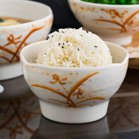 Thunder Group 3704 Gold Orchid 10 oz. Round Melamine Wave Rice Bowl - 12/Case