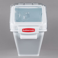 Rubbermaid FG9G5700WHT ProSave 6.3 Gallon / 100 Cup White Shelf Ingredient Storage Bin with Sliding Lid & Scoop