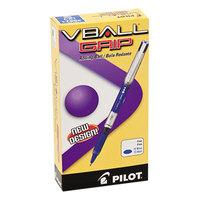 Pilot 35571 VBall Grip Blue Ink with Blue / Silver Barrel 0.7mm Roller Ball Stick Pen - 12/Pack