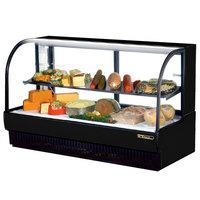 True TCGR-77-CD 77 inch Black Curved Glass Refrigerated Deli Case - 43 Cu. Ft.