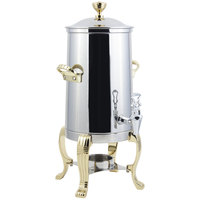 Bon Chef 41005 Aurora 5.5 Gallon Stainless Steel Coffee Chafer Urn with Brass Trim