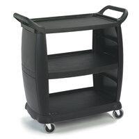 Carlisle CC2036 3 Shelf  Black Utility / Bus Cart 300 lb. Capacity