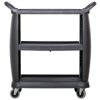 Carlisle CC203603 3 Shelf Black Utility / Bus Cart 300 lb. Capacity