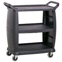 Carlisle CC203603 3 Shelf Black Utility / Bus Cart 300 lb. Capacity