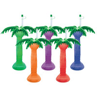 16 oz. Assorted Color Palm Tree Yarder with Lid and Straw - 48/Case