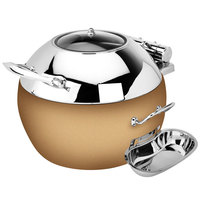 Eastern Tabletop 39311GRZ Crown 11 Qt. Stainless Steel Round Induction Soup Chafer with Bronze Base and Hinged Glass Dome Cover