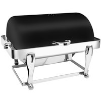 Eastern Tabletop 3604FSMB Freedom 8 Qt. Rectangular Black Coated Stainless Steel Roll Top Chafer