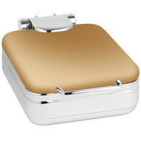 Eastern Tabletop 3997RZ Jazz Rock 4 Qt. Square Bronze Coated Stainless Steel Induction Chafer with Hinged Dome Cover