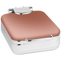 Eastern Tabletop 3997CP Jazz Rock 4 Qt. Square Copper Coated Stainless Steel Induction Chafer with Hinged Dome Cover
