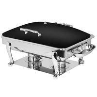 Eastern Tabletop 3935SMB Crown 8 Qt. Rectangular Black Coated Stainless Steel Induction Chafer with Freedom Stand and Hinged Dome Cover