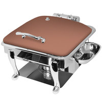 Eastern Tabletop 3934SCP Crown 6 Qt. Square Copper Coated Stainless Steel Induction Chafer with Freedom Stand and Hinged Dome Cover
