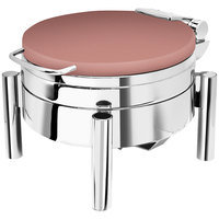 Eastern Tabletop 3978SCP Jazz Swing 6 Qt. Round Copper Coated Stainless Steel Induction Chafer with Pillar'd Stand and Hinged Dome Cover