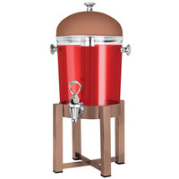Eastern Tabletop 7522CP P2 2 Gallon Copper Coated Stainless Steel Beverage Dispenser with Acrylic Container and Ice Core