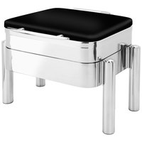 Eastern Tabletop 3974SMB Jazz Swing 6 Qt. Square Black Coated Stainless Steel Induction Chafer with Pillar'd Stand and Hinged Dome Cover