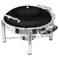 Eastern Tabletop 3938PLMB Crown 6 Qt. Round Black Coated Stainless Steel Induction Chafer with Pillar'd Stand and Hinged Dome Cover