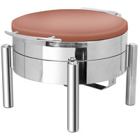Eastern Tabletop 3979SCP Jazz Swing 4 Qt. Round Copper Coated Stainless Steel Induction Chafer with Pillar'd Stand and Hinged Dome Cover
