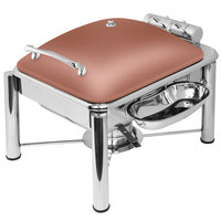 Eastern Tabletop 3964PLCP Crown 4 Qt. Square Copper Coated Stainless Steel Induction Chafer with Pillar'd Legs and Hinged Dome Cover