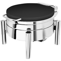 Eastern Tabletop 3978SMB Jazz Swing 6 Qt. Round Black Coated Stainless Steel Induction Chafer with Pillar'd Stand and Hinged Dome Cover