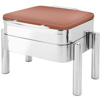 Eastern Tabletop 3974SCP Jazz Swing 6 Qt. Square Copper Coated Stainless Steel Induction Chafer with Pillar'd Stand and Hinged Dome Cover