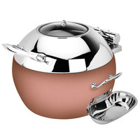 Eastern Tabletop 39311GCP Crown 11 Qt. Stainless Steel Round Induction Soup Chafer with Copper Base and Hinged Glass Dome Cover
