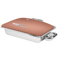 Eastern Tabletop 3935CP Crown 8 Qt. Rectangular Copper Coated Stainless Steel Induction Chafer with Hinged Dome Cover