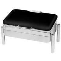 Eastern Tabletop 3975SMB Jazz Swing 8 Qt. Rectangular Black Coated Stainless Steel Induction Chafer with Pillar'd Stand and Hinged Dome Cover