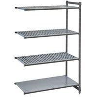 Cambro CBA244272VS4580 Camshelving Basics Plus Add On Unit with 3 Vented Shelves and 1 Solid Shelf - 24 inch x 42 inch x 72 inch