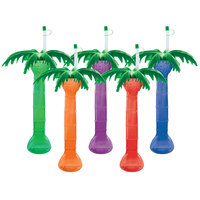 24 oz. Assorted Color Palm Tree Yarder with Lid and Straw - 48/Case