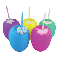 20 oz. Assorted Color Coconut Cup with Straw and Flower - 140/Case
