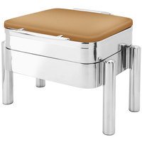 Eastern Tabletop 3974SRZ Jazz Swing 6 Qt. Square Bronze Coated Stainless Steel Induction Chafer with Pillar'd Stand and Hinged Dome Cover