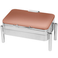 Eastern Tabletop 3975SCP Jazz Swing 8 Qt. Rectangular Copper Coated Stainless Steel Induction Chafer with Pillar'd Stand and Hinged Dome Cover