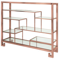 Eastern Tabletop ST1765CP 38 3/8 inch x 9 7/8 inch x 31 1/2 inch Copper Coated Stainless Steel Multi-Level Square Tabletop Display Stand with Clear Glass Tempered Shelves