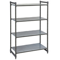 Cambro CBU184872S4580 Camshelving® Basics Plus Solid 4-Shelf Stationary Starter Unit - 18 inch x 48 inch x 72 inch