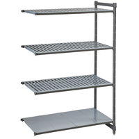 Cambro CBA184872VS4580 Camshelving® Basics Plus Add On Unit with 3 Vented Shelves and 1 Solid Shelf - 18 inch x 48 inch x 72 inch