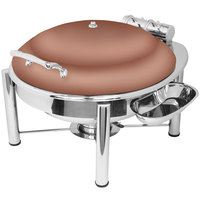 Eastern Tabletop 3938PLCP Crown 6 Qt. Round Copper Coated Stainless Steel Induction Chafer with Pillar'd Stand and Hinged Dome Cover