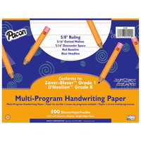 Pacon 2420 8 inch x 10 1/2 inch White Multi-Program 5/8 inch Rule 16# Handwriting Paper