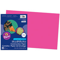 SunWorks 9107 12 inch x 18 inch Hot Pink Pack of 58# Construction Paper - 50/Sheets